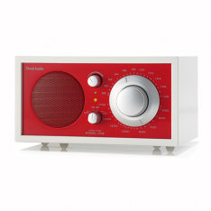 Bordradio model ONE Tivoli Audio frosthvid/rød