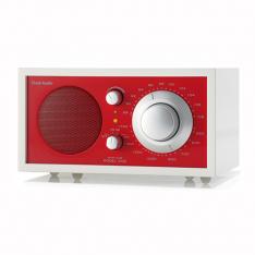 Bordradio model ONE Tivoli Audio frosthvid/rød